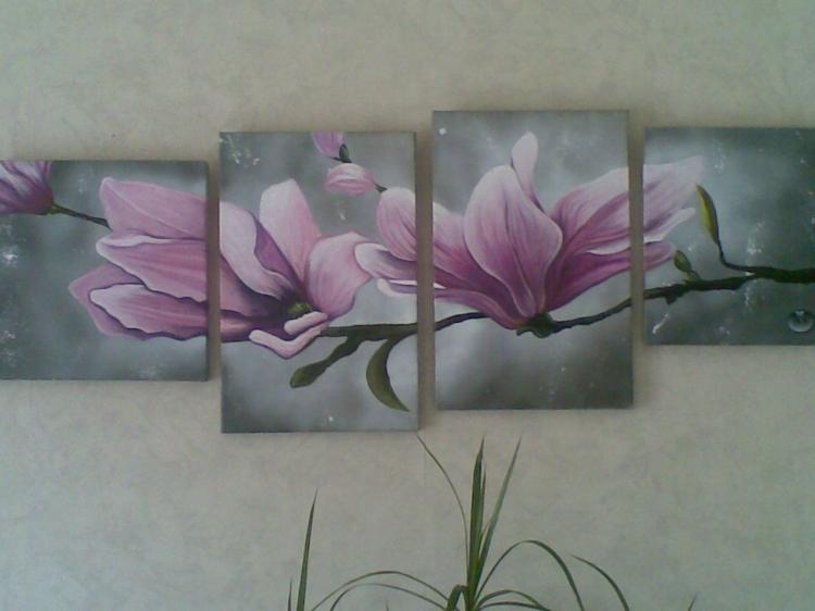 Tableau peinture art magnolia rose acrylique toile fleurs for Tableau style romantique