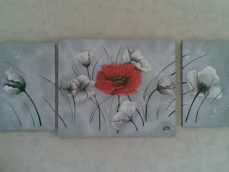 Tableau Peinture Art Coquelicot Rouge Gris Acrylique Fleurs Acrylique Coquelicot