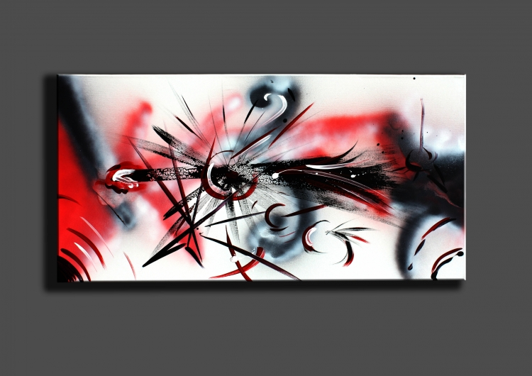 tableau peinture art noir rouge blanc acrylique abstrait acrylique comment va la guerre. Black Bedroom Furniture Sets. Home Design Ideas