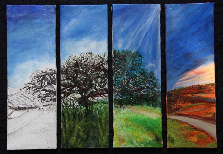 tableau peinture art arbre saison nature paysage paysages acrylique l 39 arbre de vie. Black Bedroom Furniture Sets. Home Design Ideas