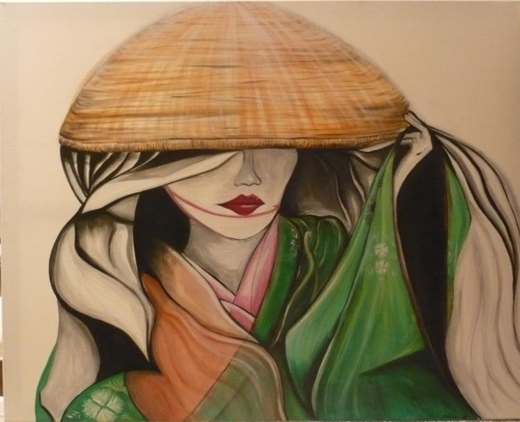 tableau japonaise chapeau asiatique estampe toile personnages acrylique p