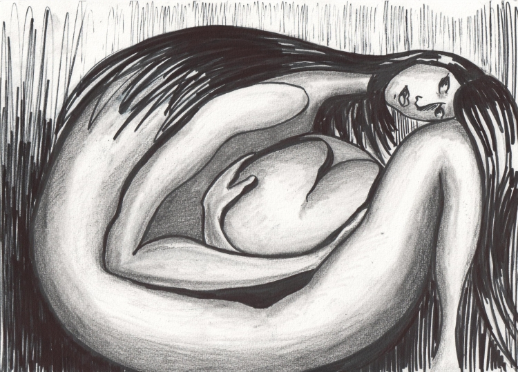 dessin femme coeur foetus noir et blanc personnages feutre femme et son coeur. Black Bedroom Furniture Sets. Home Design Ideas