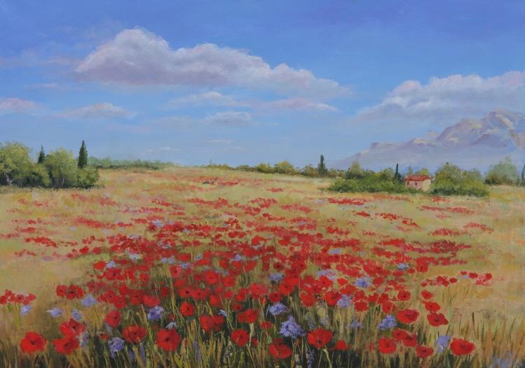 Tableau peinture art champ coquelicots paysage fleurs for Tableau de coquelicot en peinture