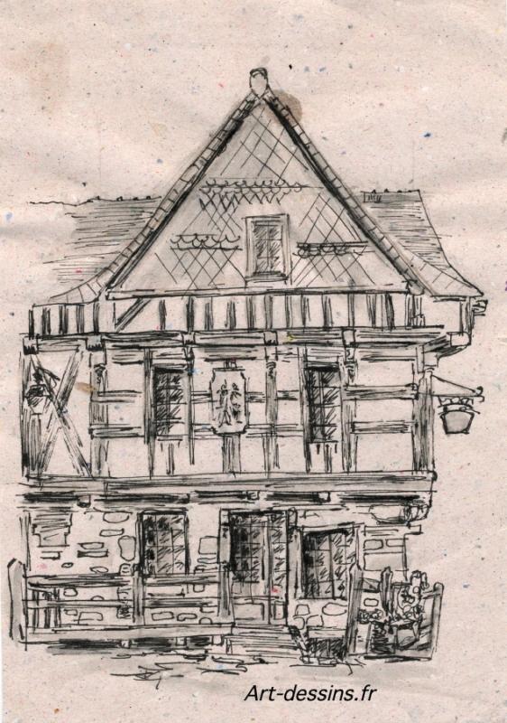 Tableau peinture desssin drawing fa ade maison dessin de for Art et maison figeac