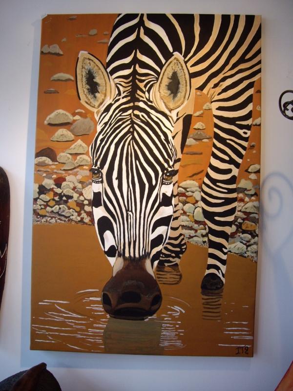tableau peinture art afrique zbre animaux nature animaux acrylique zbre assoiff. Black Bedroom Furniture Sets. Home Design Ideas