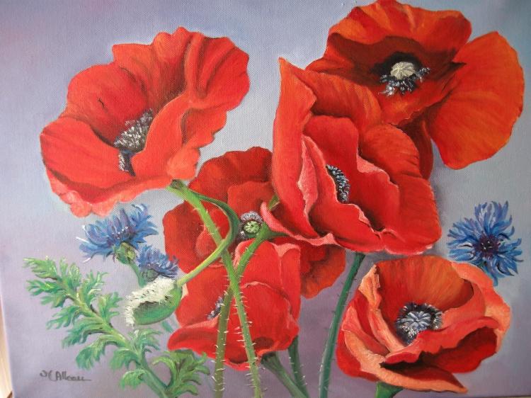 Tableau peinture art rouge coquelicots bleu bleuet fleurs for Tableau de coquelicot en peinture
