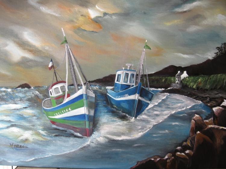 tableau peinture art bateau mer bretagne marine peinture a l 39 huile bateaux. Black Bedroom Furniture Sets. Home Design Ideas