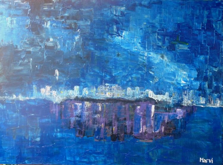 TABLEAU PEINTURE - Atmosphère bleue vie