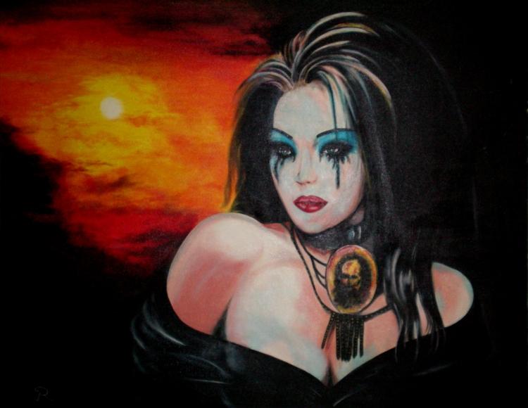 Souvent TABLEAU PEINTURE femme soleil beauté larmes - veuve noire PW86