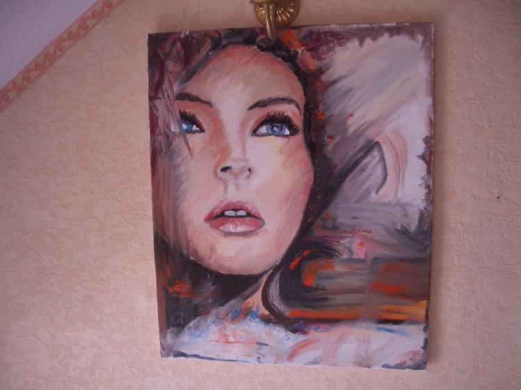 tableau portrait visage femme abstrait personnages peinture lhuile leila p