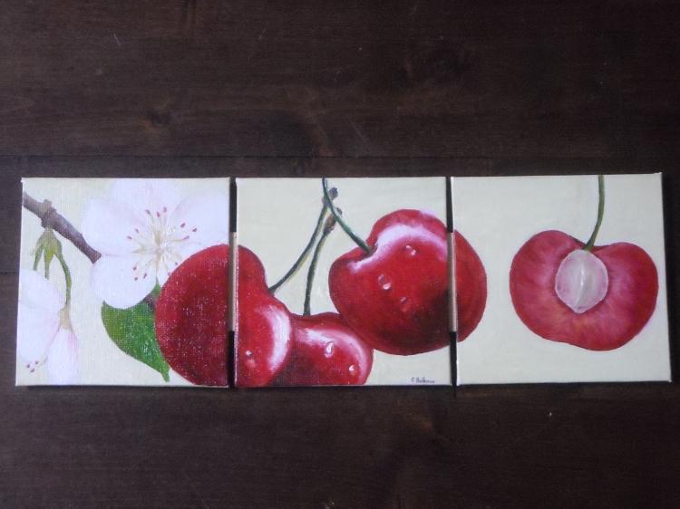 tableau peinture déco cuisine fruit - cerises triptyque - Peinture Sur Toile Pour Cuisine