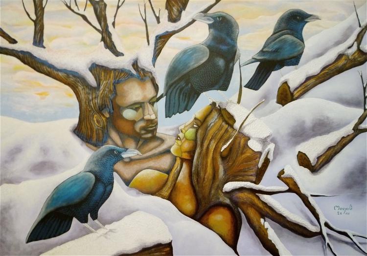 TABLEAU PEINTURE couple neige corbeaux imaginaire - La valse de la ...