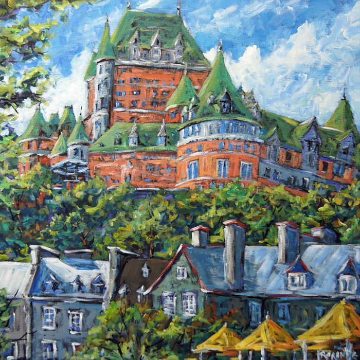 tableau historique ville quebec city haute architecture acrylique chateau frontenac grande toile pi