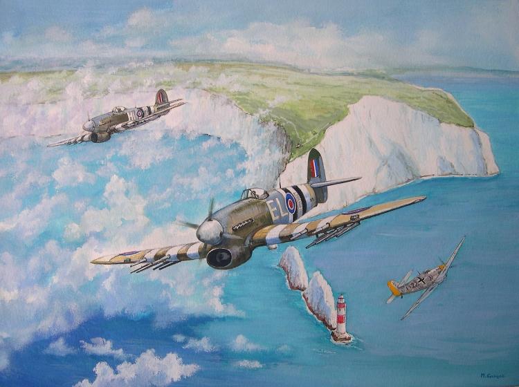 TABLEAU PEINTURE Royal Air Force chasseur bombardier 2ème GM The Needles - Typhoon