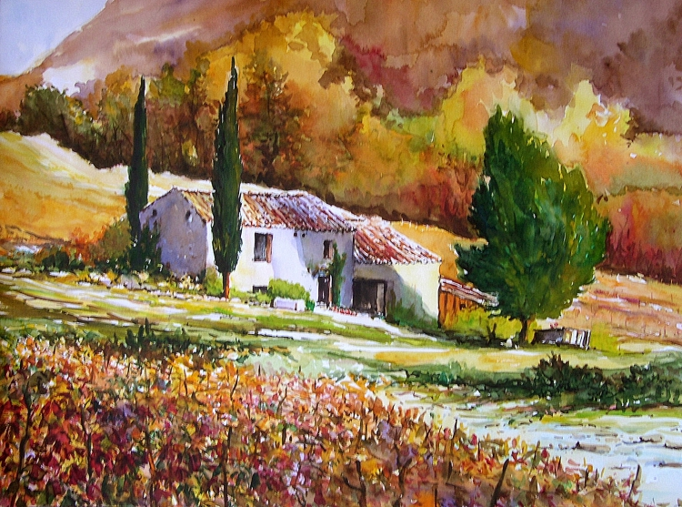 tableau peinture art provence vignoble ifs automne paysages aquarelle mas provenal. Black Bedroom Furniture Sets. Home Design Ideas