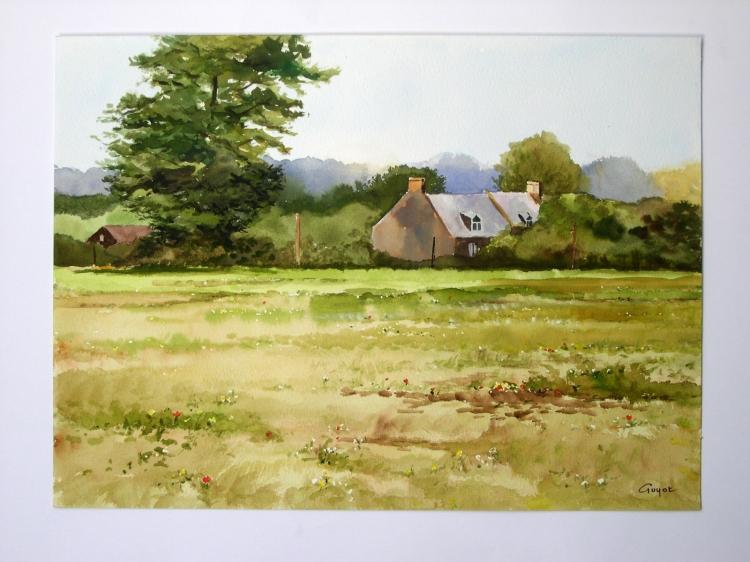 Tableau peinture art prairie ferme arbres campagne for Photo campagne anglaise