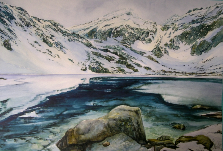 tableau peinture art lac montagne neige corse paysages aquarelle lac de haute corse. Black Bedroom Furniture Sets. Home Design Ideas