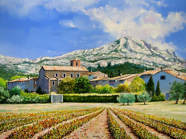 tableau peinture art provence sainte victoire campagne vigne paysages gouache village au pied. Black Bedroom Furniture Sets. Home Design Ideas