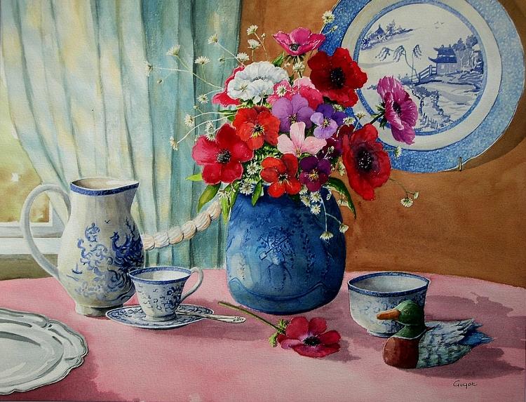 Tableau peinture art anmones vase porcelaine nature morte for Bouquet de fleurs nature