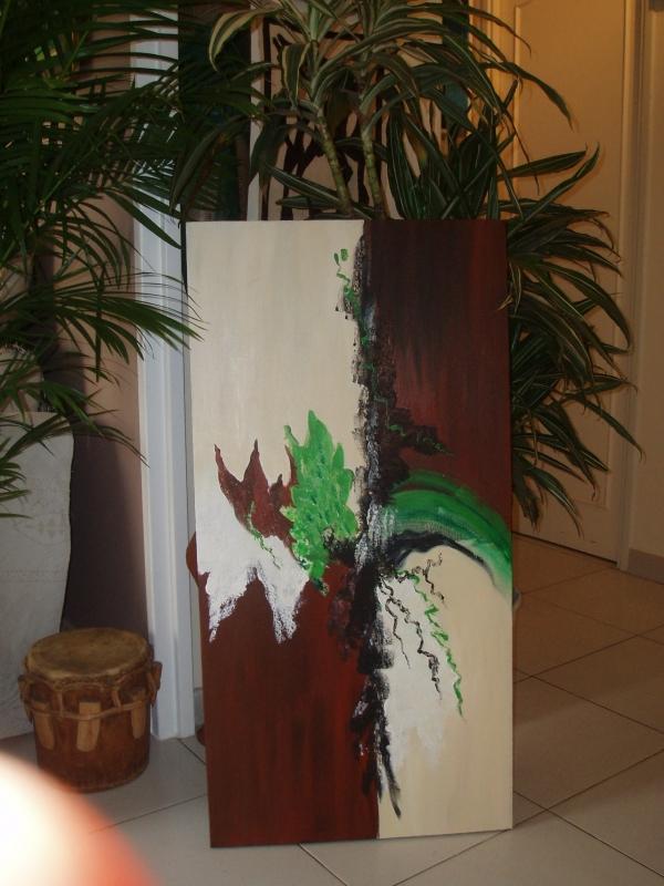 TABLEAU PEINTURE - bois vert