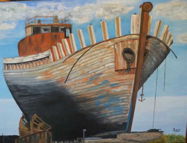 TABLEAU PEINTURE pêche cale sèche bateau marin-pêcheur - Radoub