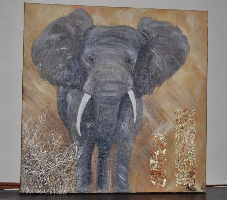 tableau peinture l phant afrique savane animaux l 39 l phant. Black Bedroom Furniture Sets. Home Design Ideas