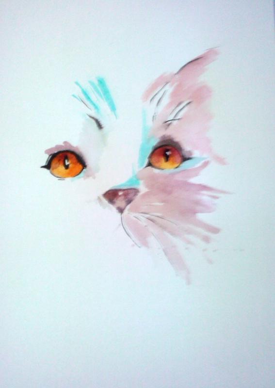 Dessin chat aquarelle animeaux animaux aquarelle chat - Dessins de chats rigolos ...