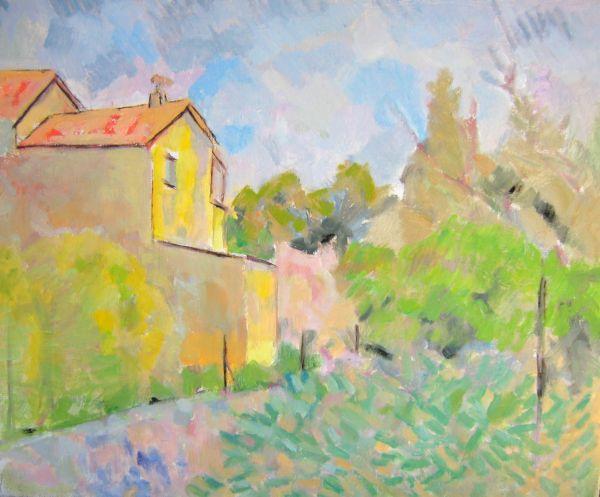 TABLEAU PEINTURE provence impressionisme jardin village - la villa de Bel air