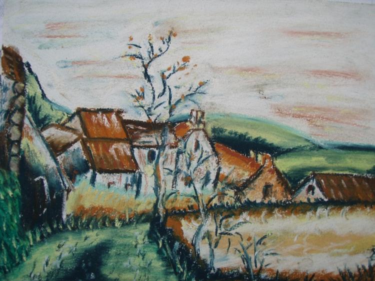 Dessin village nature maison campagne paysages pastel - Dessin maison de campagne ...