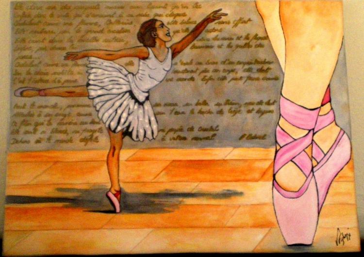 Tableau Peinture Art Ballerine Danseuse Danse Classique