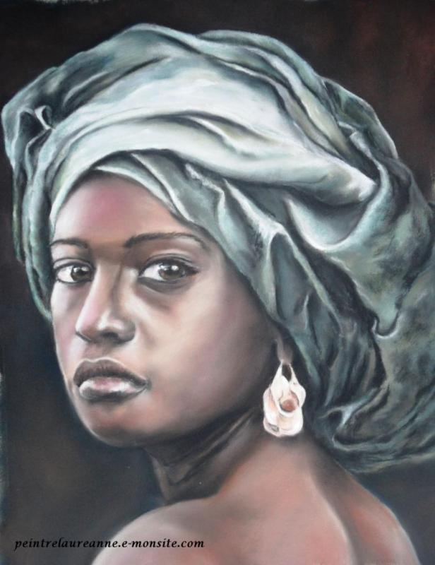 Préférence DESSIN femme africaine ethnie regard portrait - La femme au turban JA31
