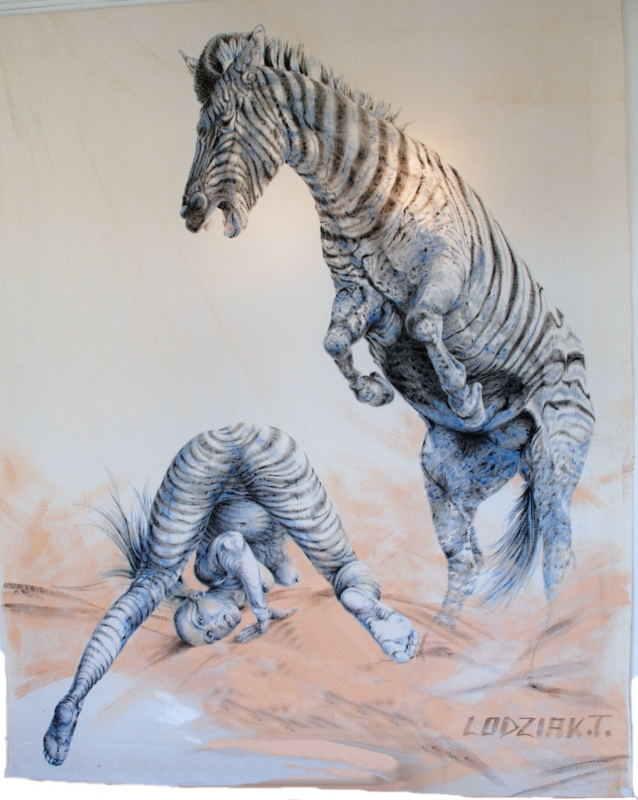 TABLEAU PEINTURE peinture huile animal toile - Zèbre et Zébrule