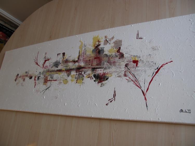 Tableau peinture art rouge noir or argent abstrait acrylique tableau abstra - Peinture avec relief ...