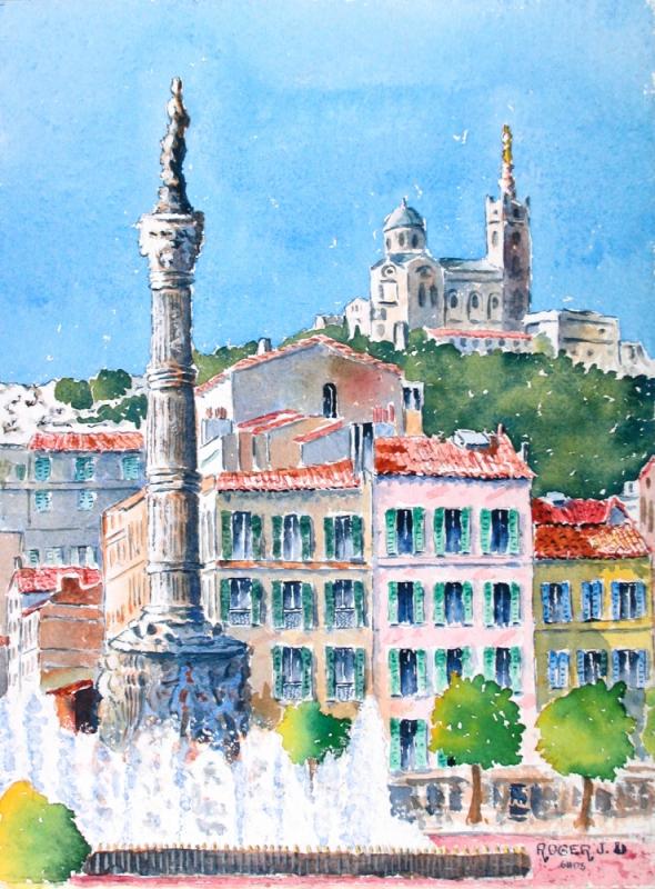 TABLEAU PEINTURE - Place Castellane à Marseille