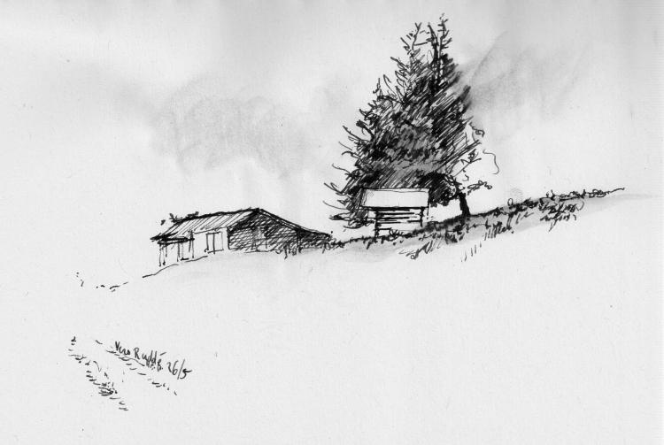 Dessin montagne chalet ciel foret paysages encre de chine - Dessin de chalet de montagne ...
