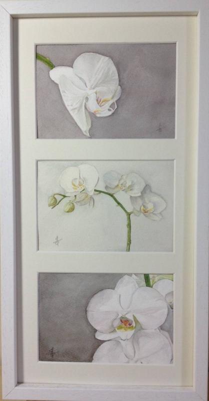 Tableau peinture art orchides fleurs triptyque fleurs aquarelle orchides blanches triptyque - Tableau triptyque fleurs blanches ...