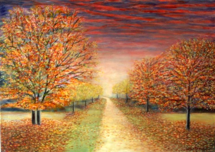 Tableau peinture art tableau paysage automne acrylique paysages acrylique p - Tableau peinture acrylique ...