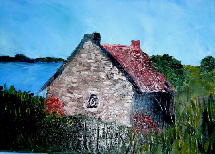 tableau peinture maison bretagne vieilles pierres mer petite maison bretonne. Black Bedroom Furniture Sets. Home Design Ideas