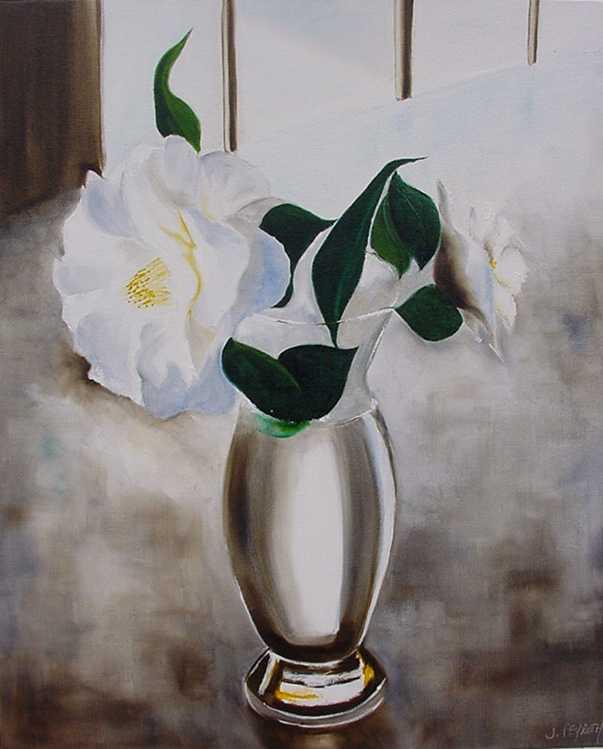 Populaire TABLEAU PEINTURE bouquet fleurs blanches nature morte vase  ZD71