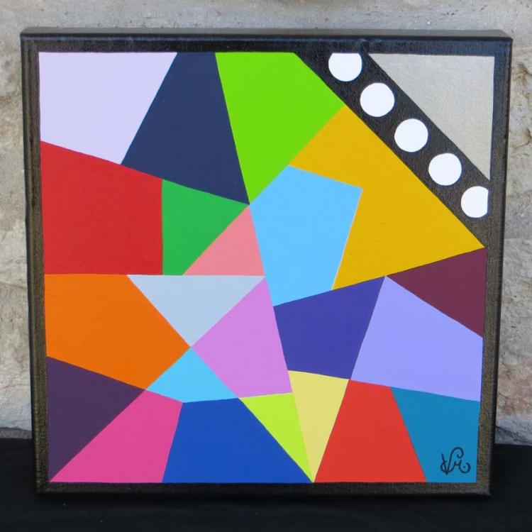 Extrêmement Tableau Peinture Art abstrait géométrie forme acrylique Abstrait  HN71