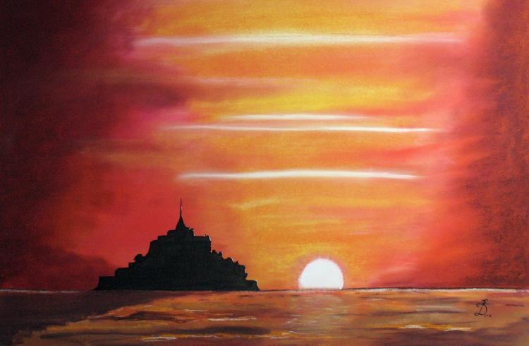 Dessin mont saint michel coucher de soleil paysages pastel - Dessin coucher de soleil ...
