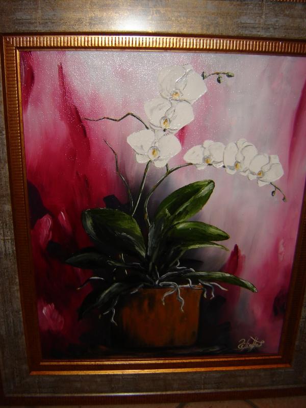 tableau peinture art orchide fleurs bouquet pot de fleurs fleurs peinture a l 39 huile orchide. Black Bedroom Furniture Sets. Home Design Ideas