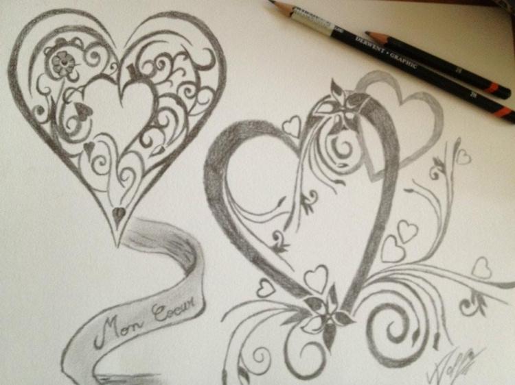 Dessin coeur st valentin coeur - Coeur en dessin ...