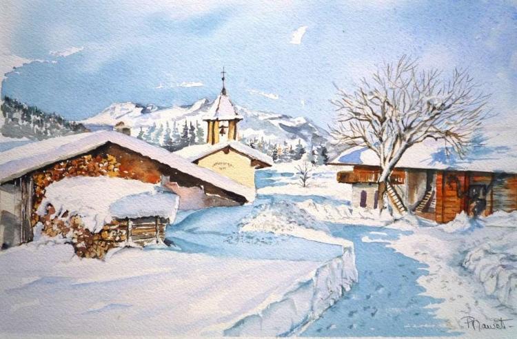 TABLEAU PEINTURE aquarelle hameau aquarelle paysage ne village hiver ...