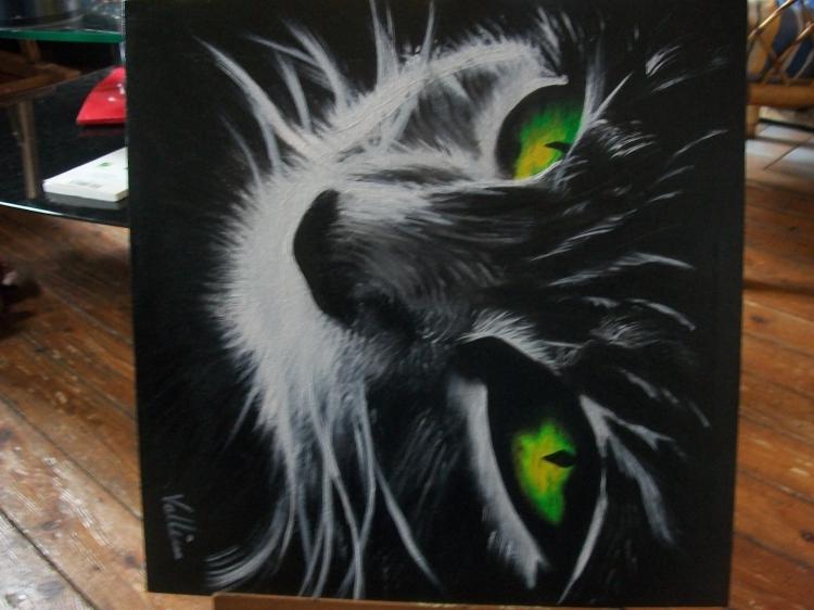 Assez TABLEAU PEINTURE chat clair obscur vert noir matou - l'oeil du chat 2 PJ24
