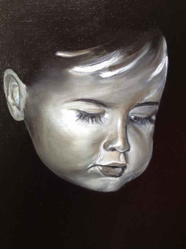 Tableau peinture art enfant portrait personnage noir for Tableau portrait noir et blanc