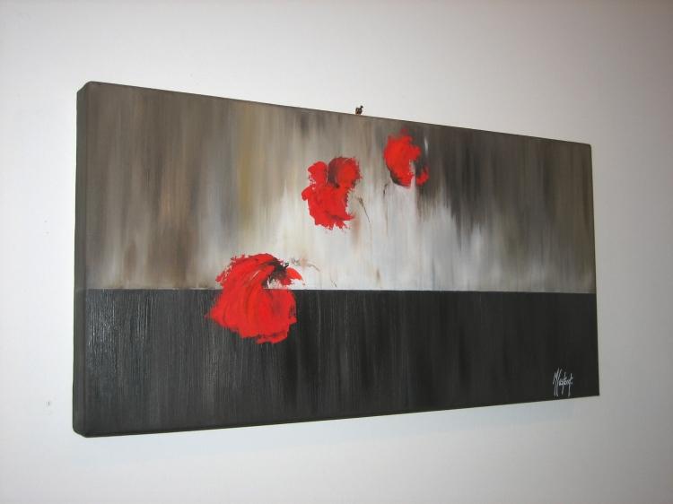 Tableau peinture art rouge coquelicot fleurs peinture a l for Tableau de coquelicot en peinture