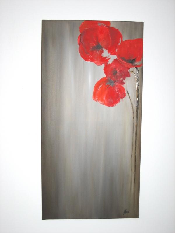 Tableau peinture art coquelicot rouge fleurs peinture a l for Tableau de coquelicot en peinture