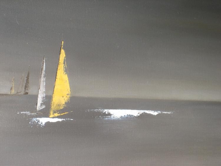 Tableau peinture art voiles bateaux noir horizon marine for Peintures en noir et blanc