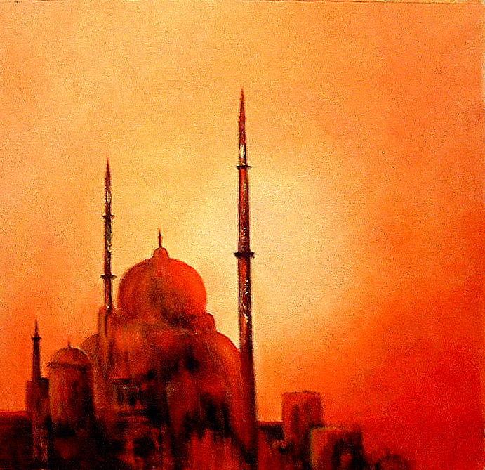 TABLEAU PEINTURE mosqu�e coucher de soleil orient - La mosqu�e